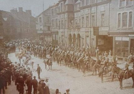 The Lancashire Hussars parade down Moor Street