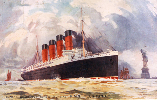 A Contemporary painting of RMS Lusitania by Odin Rosenvinge