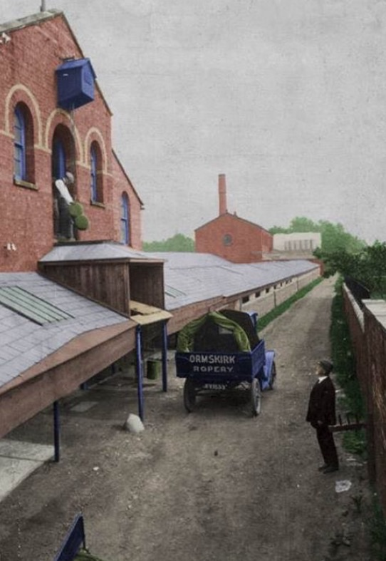 Recolourised photo of Ormskirk Rope Works
