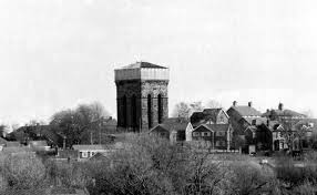 Old photo of the water tower located on tower hill in Ormskirk