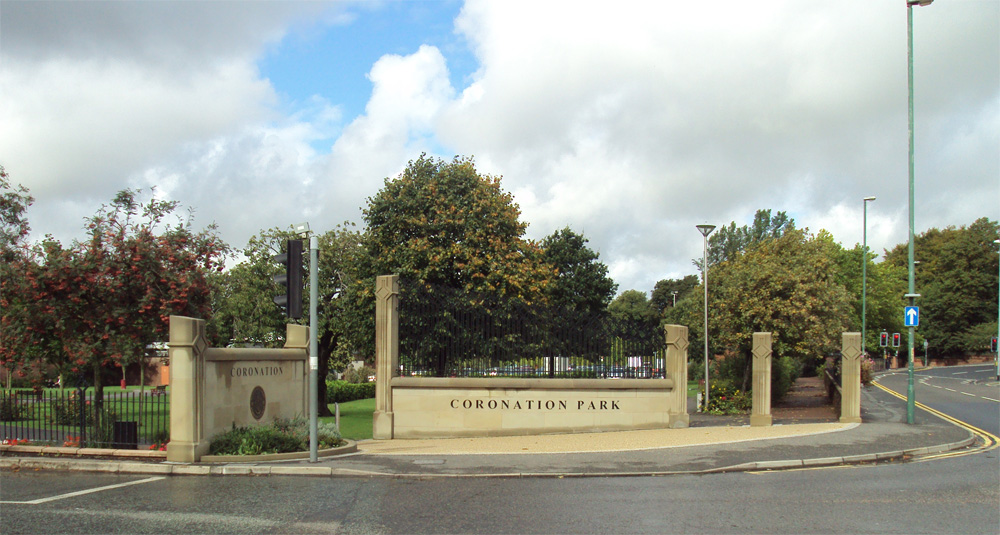 The modern entrance to Coronation Park in Ormskirk