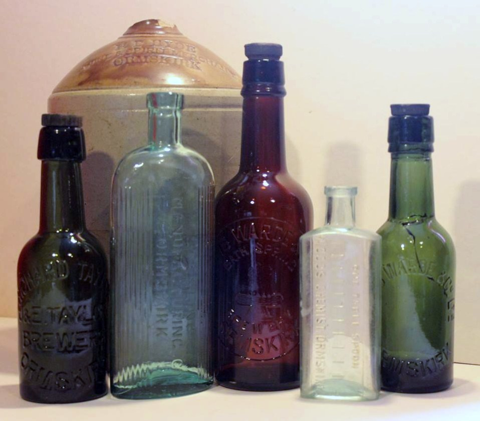 A selection of glass and earthenware bottles from Ormskirk businesses