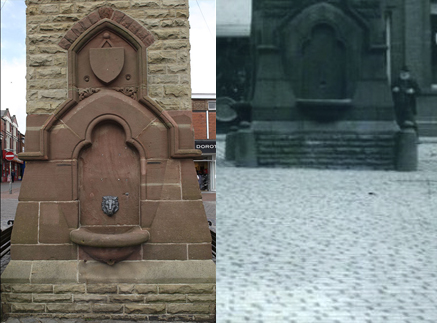 A comparison showing the drinking fountains on the clock tower as they were and as they are now