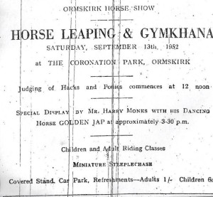 Advert for the Ormskirk Horse Show 1952