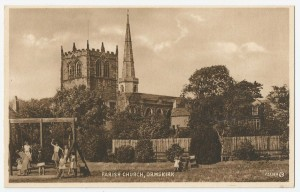 An old postcard of Coronation Park looking towards the Parish Church (1940s)