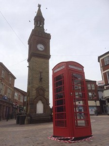 Phone box relocated next to the clock tower