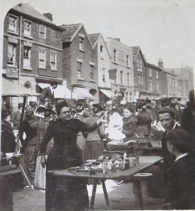 a souvenir seller on Ormskirk Market