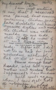 The letter written by Arthur Fairbrother to Wyn, Boxing Day 1915