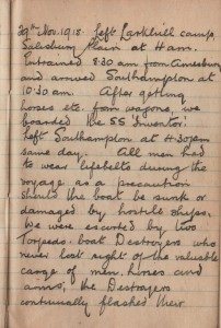A page from the diary of Arthur Fairbrother written during 1915