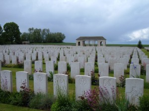 Guards Cemetery at Lesbouefs, the final resiting place of Arthur Fairbrother