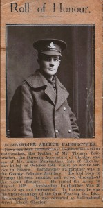 A newspaper article commemorating Arthur Fairbrother