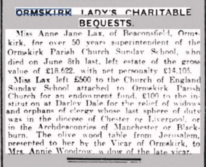 A newspaper cutting relating to the bequests of Miss Ann Lax