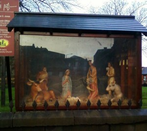 The Nativity Scene outside Ormskirk Parish Chrurch