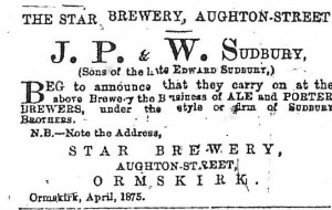An advert for the Sudbury Star Brewery