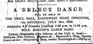 An advert for a dance at the Drill Hall, 1946
