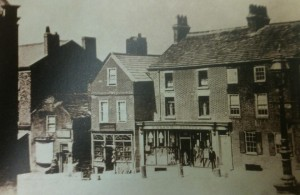 The top West corner of Aughton Street, before the clock was built, circa 1865