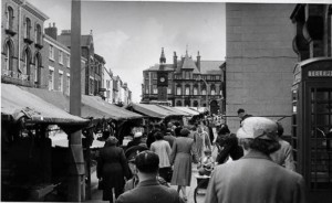 The view towards the clock tower from the post office on Aughton Street