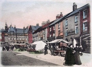 Top East corner of Aughton Street, with Mawdsleys - The Original Gingerbread shop, The White Bull Inn and Muggy Lees