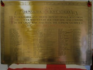 The Aughton Street Boys School WW1 Memorial Plaque