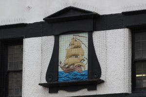 The sign above the Ship Inn which is still in existence today