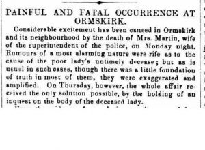 An article on Martha's death 1862 from the Sheffield and Rotherham Independent Monday November 10th 1862