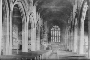 The Bickerstaffe Chapel within the North Aisle of Ormskirk Parish Church, just before the entrance down to the Vestry, it is the left hand aisle in the picture